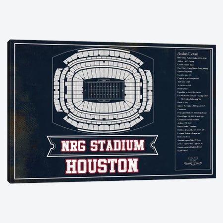 Houston NRG Stadium In Team Colors Canvas Print #CWE63} by Cutler West Canvas Art