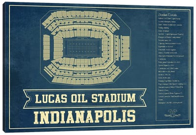 Indianapolis Lucas Oil Stadium Blue Canvas Art Print