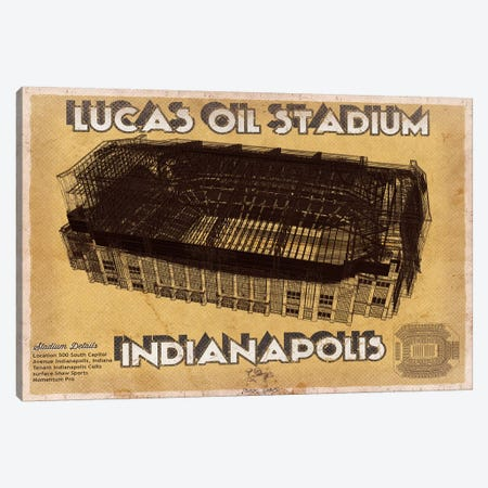 Indianapolis Lucas Oil Stadium 3-Piece Canvas #CWE66} by Cutler West Canvas Print
