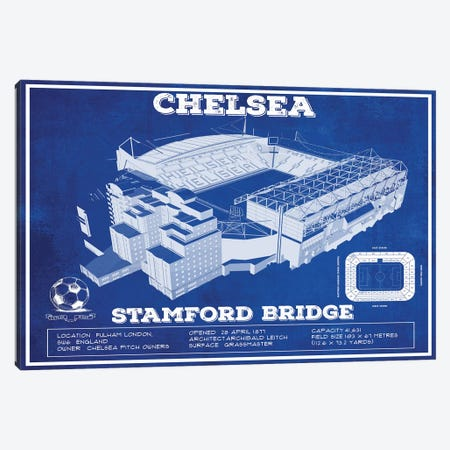 London Stamford Bridge In Team Colors Canvas Print #CWE72} by Cutler West Art Print