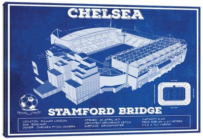 London Stamford Bridge In Team Colors Canvas Art Print