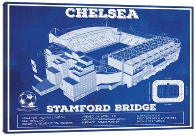 London Stamford Bridge In Team Colors Canvas Art Print