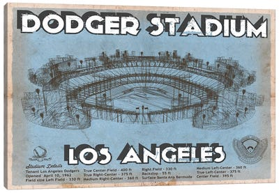Los Angeles Dodger Stadium Blue Canvas Art Print