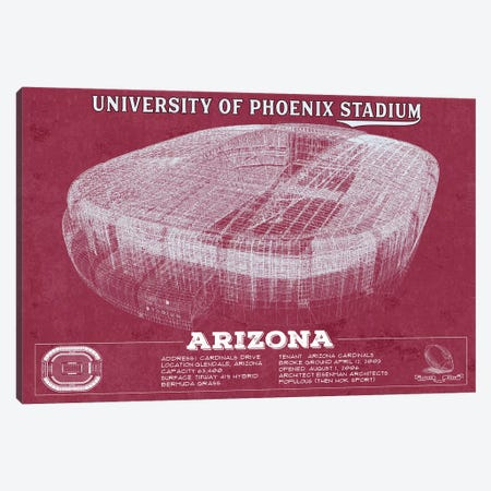 Arizona University Of Phoenix Stadium In Team Colors Canvas Print #CWE7} by Cutler West Canvas Artwork