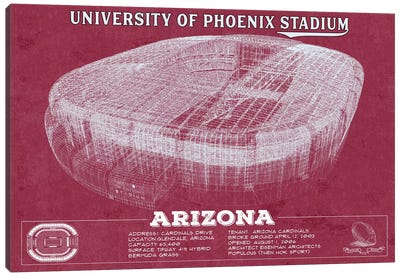 Arizona University Of Phoenix Stadium In Team Colors Canvas Art Print