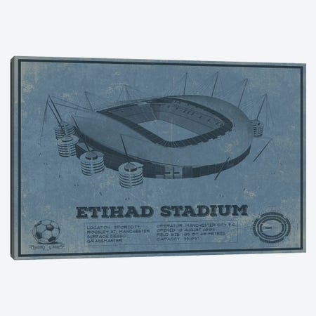 Manchester Etihad Stadium In Team Colors Canvas Print #CWE82} by Cutler West Canvas Artwork