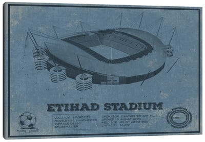 Manchester Etihad Stadium In Team Colors Canvas Art Print
