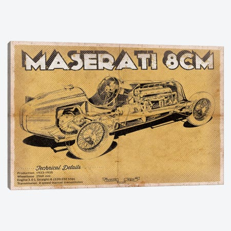 Maserati 8CM Canvas Print #CWE83} by Cutler West Canvas Artwork
