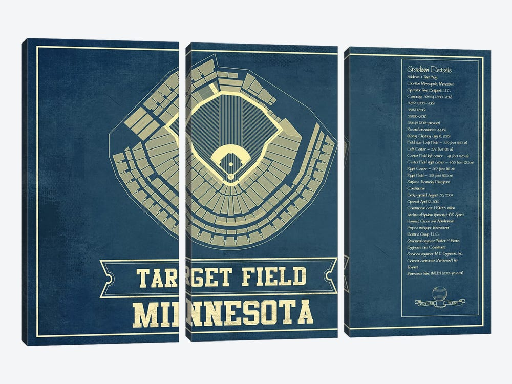 Minnesota Target Field by Cutler West 3-piece Canvas Print