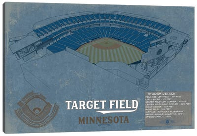 Minnesota Target Field Blueprint Canvas Art Print
