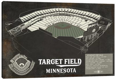 Minnesota Target Field Rustic Canvas Art Print