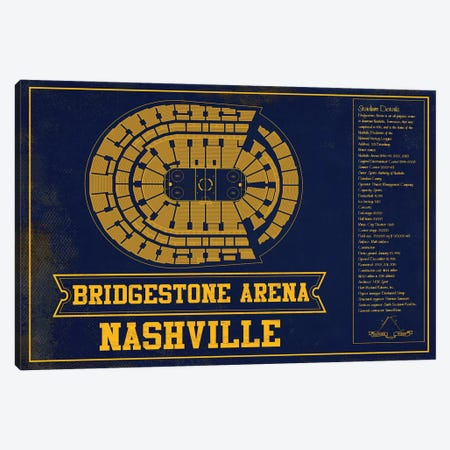 Nashville Bridgestone Arena Canvas Print #CWE98} by Cutler West Art Print