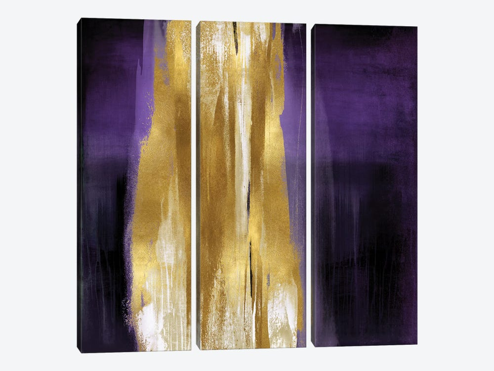 Free Fall Purple with Gold I 3-piece Canvas Art