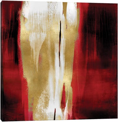 Free Fall Red with Gold I Canvas Art Print
