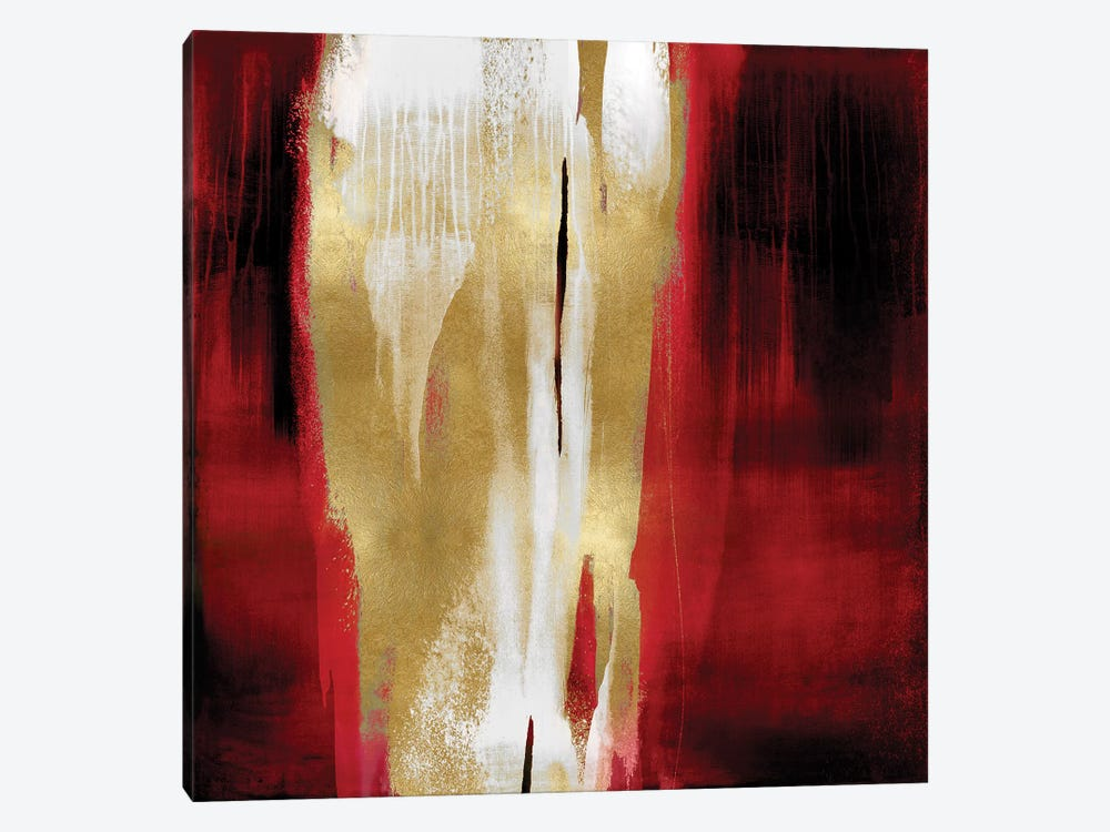Free Fall Red with Gold I by Christine Wright 1-piece Canvas Wall Art
