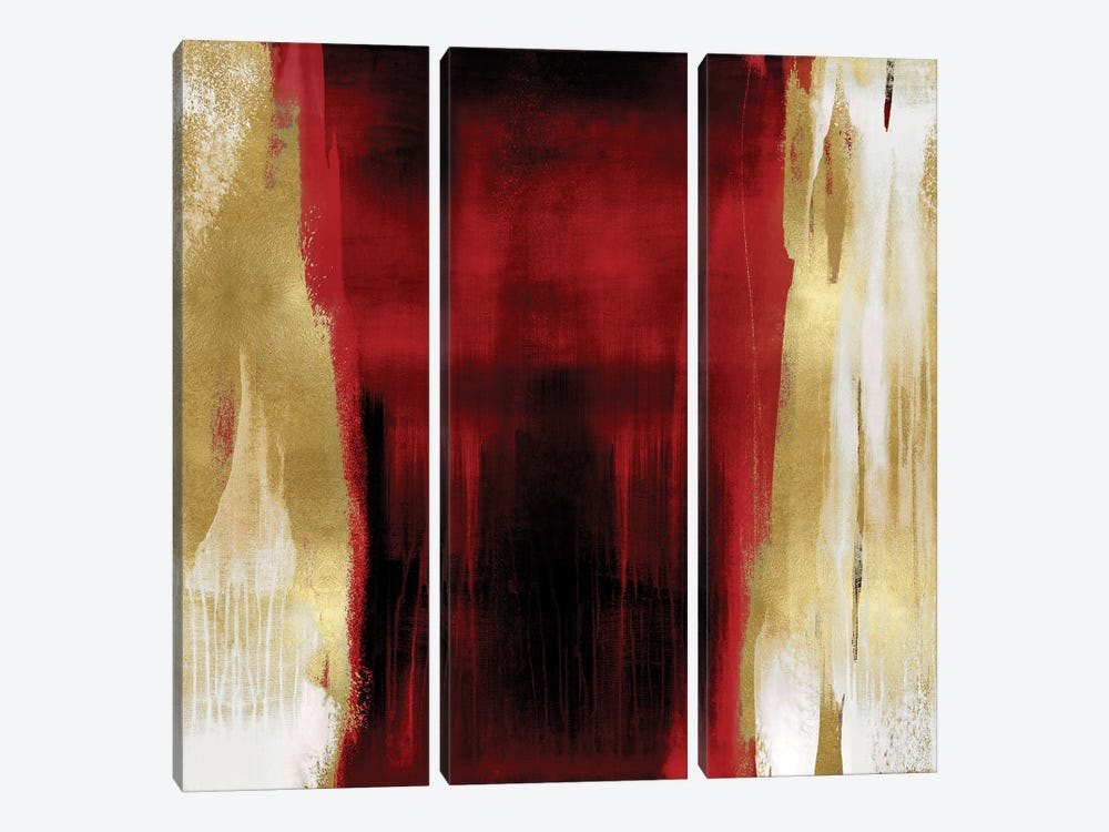 Free Fall Red with Gold II by Christine Wright 3-piece Art Print