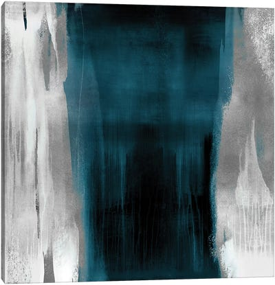 Free Fall Teal with Silver II Canvas Art Print