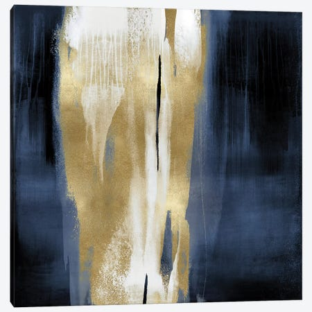 Free Fall Blue with Gold I Canvas Print #CWG1} by Christine Wright Art Print