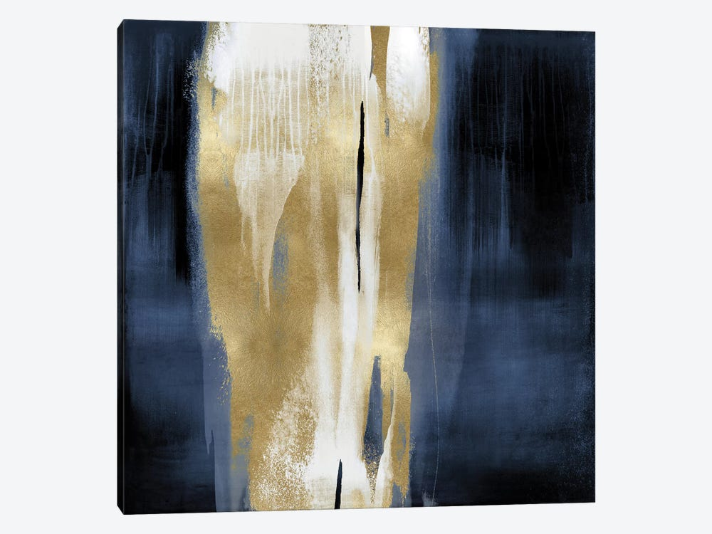 Free Fall Blue with Gold I by Christine Wright 1-piece Canvas Print
