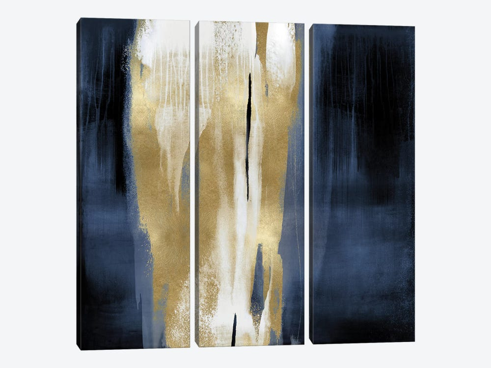 Free Fall Blue with Gold I by Christine Wright 3-piece Canvas Print