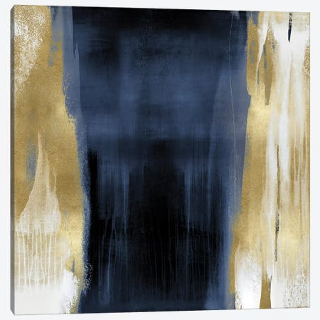 Free Fall Blue with Gold II 3-Piece Canvas #CWG2} by Christine Wright Canvas Art Print