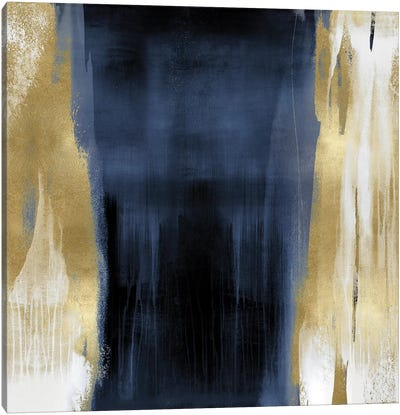 Free Fall Blue with Gold II Canvas Art Print