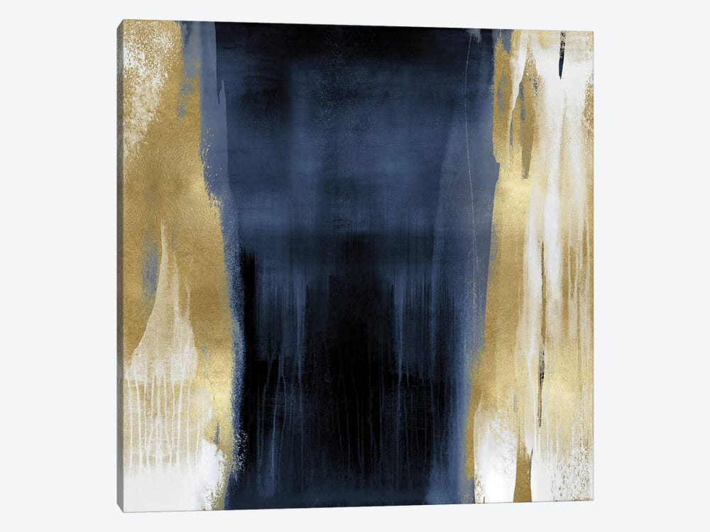 Free Fall Blue with Gold II by Christine Wright 1-piece Canvas Wall Art
