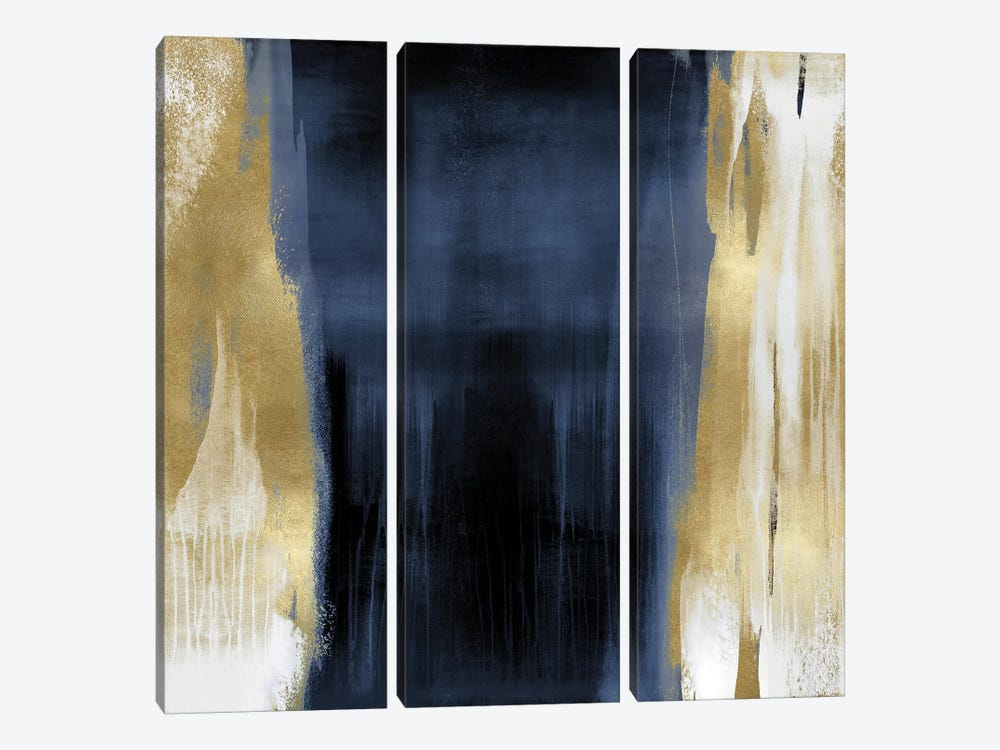 Free Fall Blue with Gold II by Christine Wright 3-piece Canvas Artwork