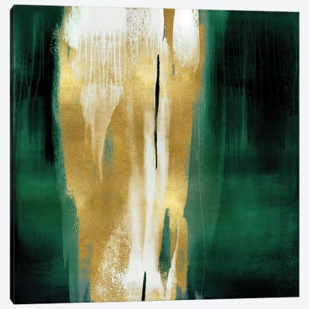 Free Fall Emerald with Gold I Canvas Print #CWG3} by Christine Wright Art Print