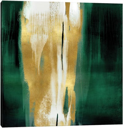 Free Fall Emerald with Gold I Canvas Art Print