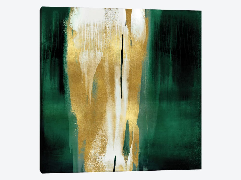 Free Fall Emerald with Gold I by Christine Wright 1-piece Canvas Print