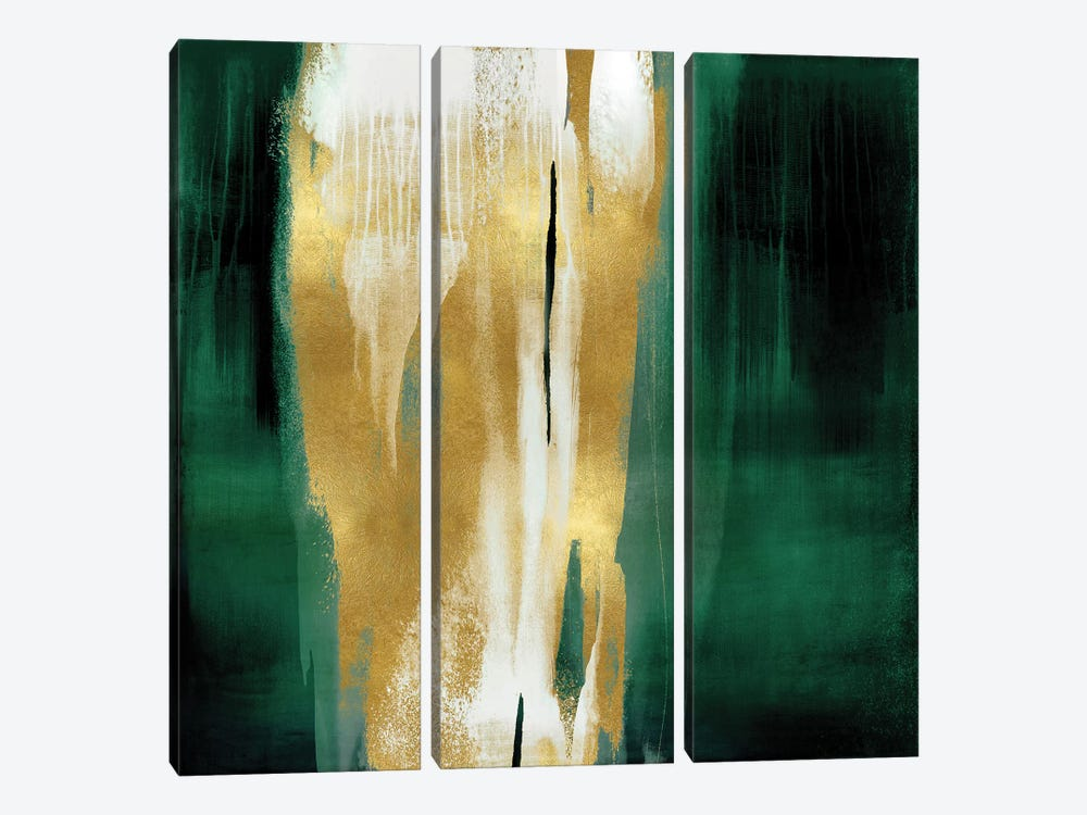 Free Fall Emerald with Gold I by Christine Wright 3-piece Art Print