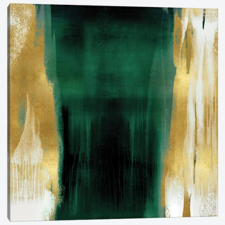 Free Fall Emerald with Gold II Canvas Print #CWG4} by Christine Wright Canvas Artwork