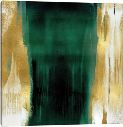Free Fall Emerald with Gold II Canvas Art Print