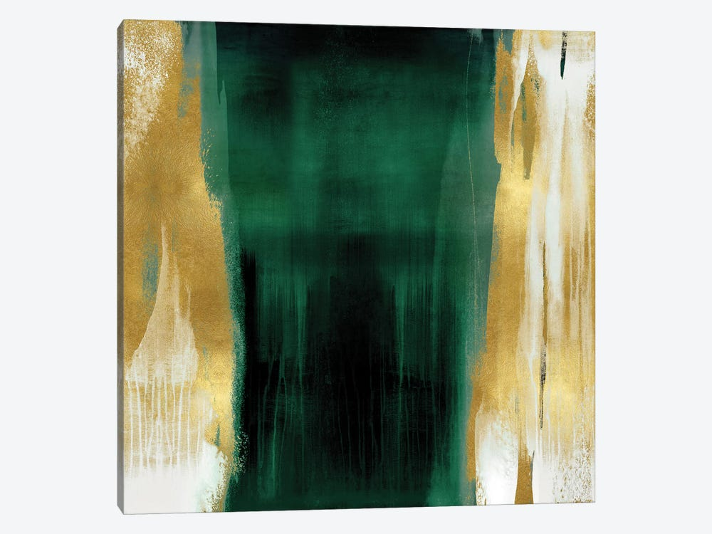 Free Fall Emerald with Gold II by Christine Wright 1-piece Canvas Wall Art