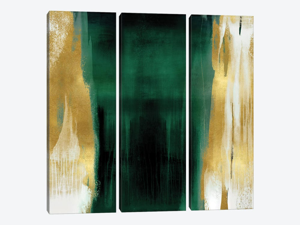 Free Fall Emerald with Gold II by Christine Wright 3-piece Canvas Art