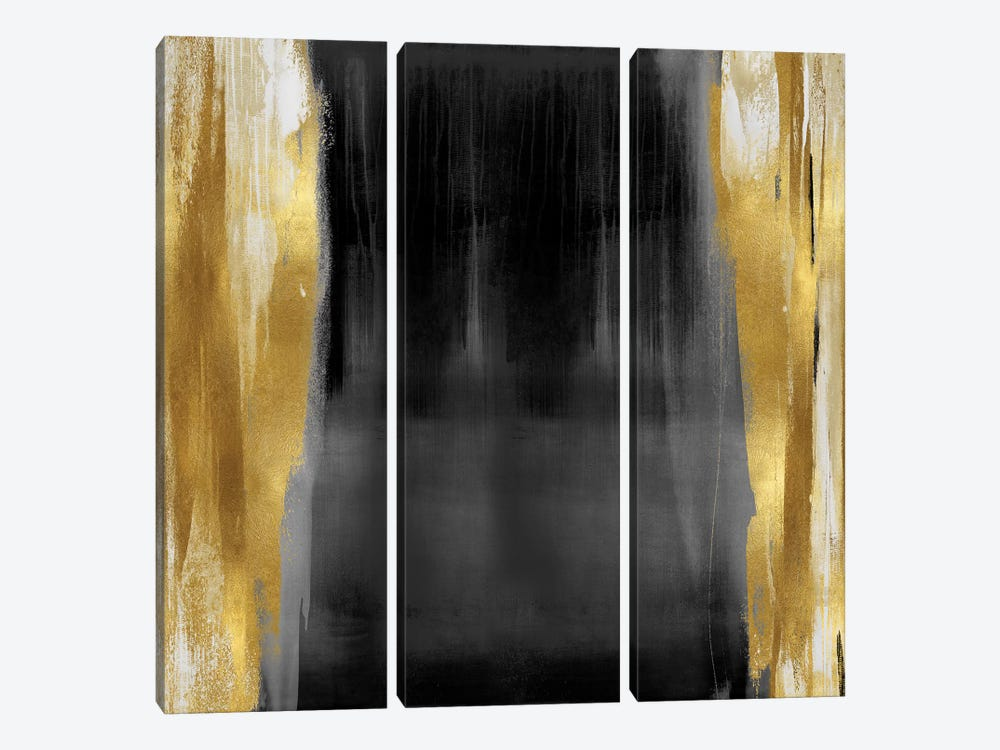 Free Fall Gray with Gold II by Christine Wright 3-piece Canvas Art