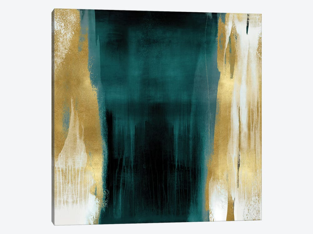 Free Fall Green with Gold II by Christine Wright 1-piece Canvas Artwork