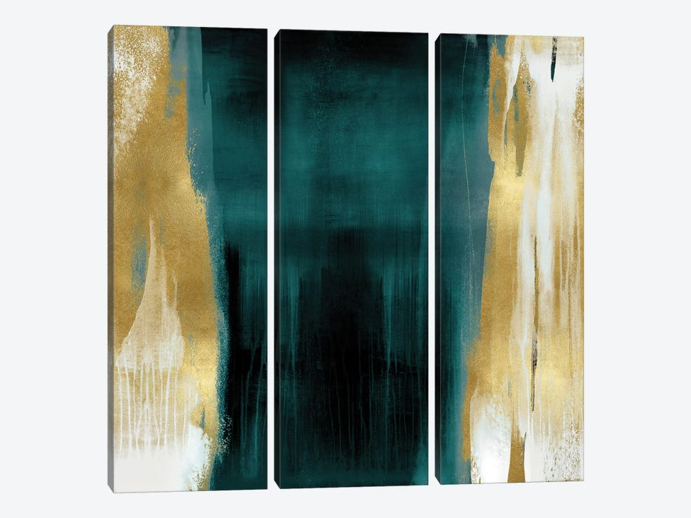 Free Fall Green with Gold II by Christine Wright 3-piece Canvas Art