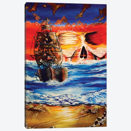 Pirate Ship I Canvas Print #CWH15} by Carrie White Canvas Print