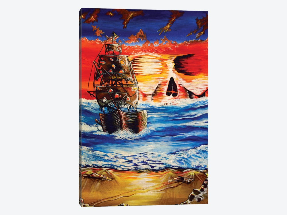Pirate Ship I by Carrie White 1-piece Canvas Wall Art