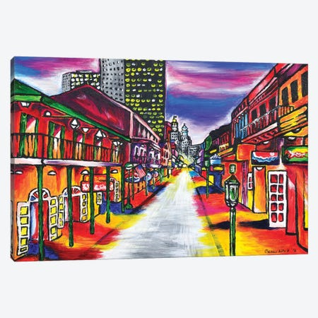 Bourbon Street, New Orleans Canvas Print #CWH1} by Carrie White Canvas Wall Art
