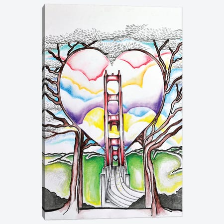 Golden Gate Heart Canvas Print #CWH29} by Carrie White Art Print
