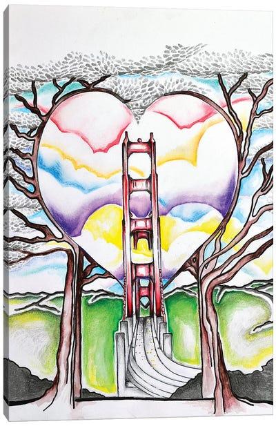 Golden Gate Heart Canvas Art Print