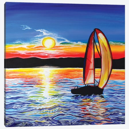 Sailboat Canvas Print #CWH33} by Carrie White Canvas Art
