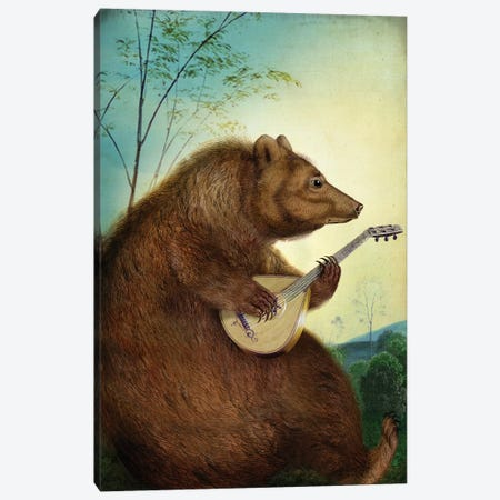 Mandolin Bear Canvas Print #CWS19} by Catrin Welz-Stein Art Print