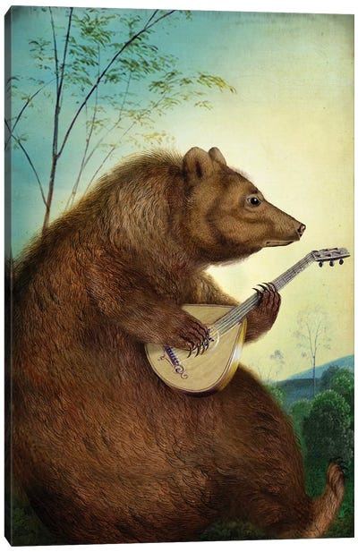 Mandolin Bear Canvas Art Print