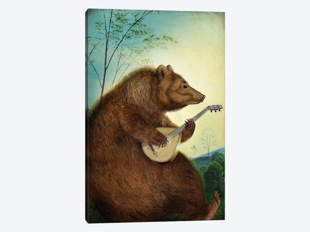 Mandolin Bear by Catrin Welz-Stein 1-piece Canvas Artwork