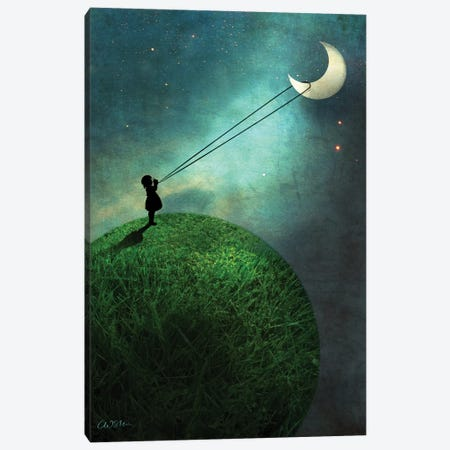 Chasing The Moon Canvas Print #CWS7} by Catrin Welz-Stein Canvas Art Print