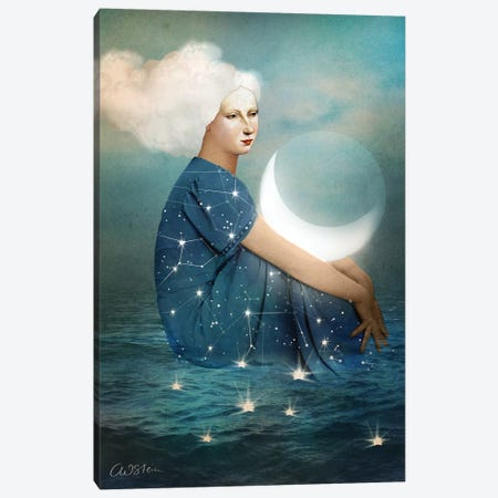 The Moon 3-Piece Canvas #CWS92} by Catrin Welz-Stein Canvas Print